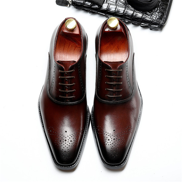 Genuine cow leather brogue wedding Business mens casual flats shoes vintage handmade oxford shoes for men 2019 black burgundy