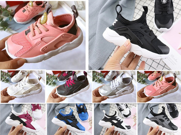 New Kids Air Huarache Sneakers Shoes Boys Grils Authentic All White Children Trainers Huaraches Sport Running Shoes baby birthday gift 6C-3Y