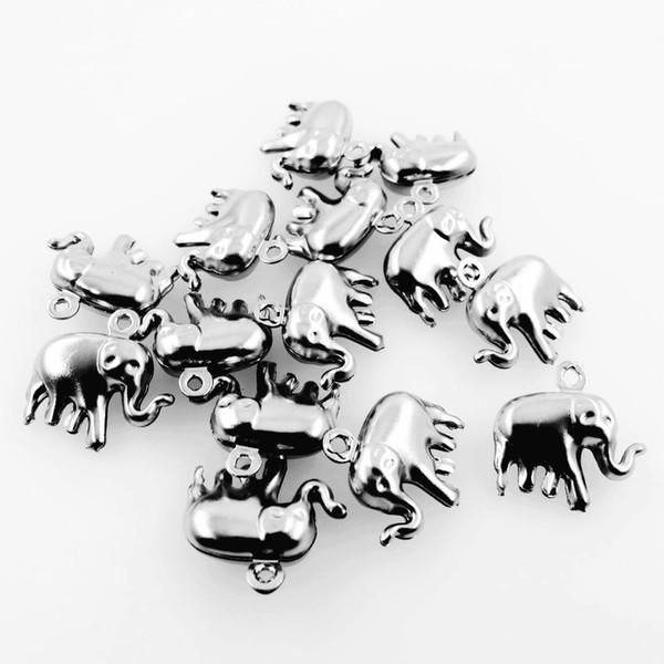 Hueco pequeño elefante encantos del tono de plata de acero inoxidable elefante colgante para DIY collar accesorios de moda