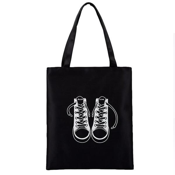 Cheap Fashion Plain Black White Handbag High Quality Canvas Women's Shoulder Bag Girl's Lovely Cartoon Printing School Shopping Bag