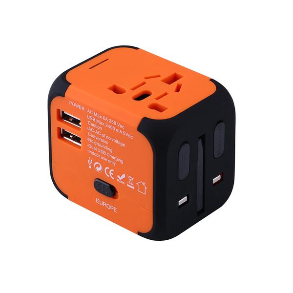 International Plug Разъем Адаптер World Travel AC Адаптер Питания Зарядное Устройство Американский / Европа / Великобритания Adaptador Универсальный С Двойным Usb J190522