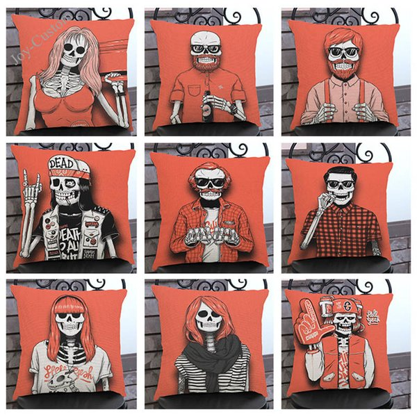 The Skeleton Whimsy Skull Linen Pillow Case Household Sofa Chair Decoration Cushion Cover Individuality Present