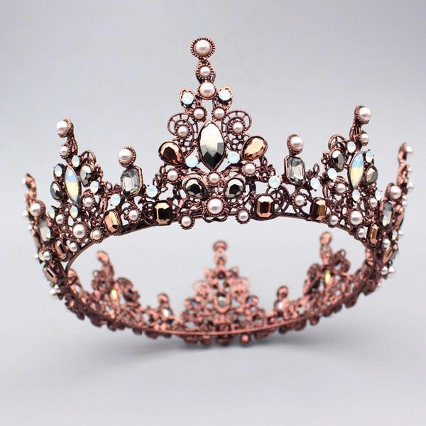 Gorgeous Crystal Vintage Queen King Crown Bridal tiara Women Prom Diadem Hair Ornaments Wedding Bride Hair Jewelry Accessories C18122501