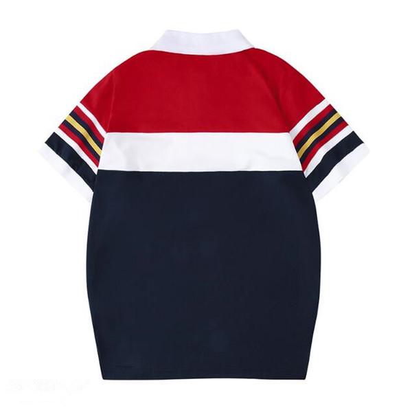19ss beste qualität Designer Mens T-shirt Luxus Umlegekragen polo stickerei drei schwein gestreiften hülse gewebeband T-shirt Lässig T-shirt