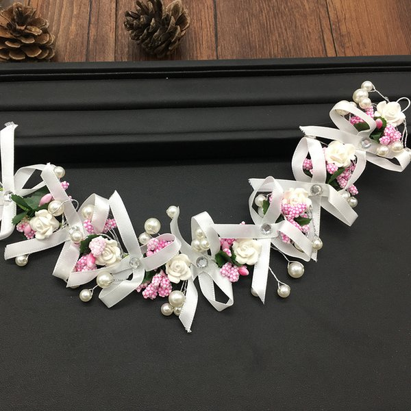 korean bride wedding girl headwear accessories pink colour ribbon flower pearl torsional beads hair decorate
