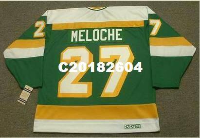 Herren # 27 GILLES MELOCHE Minnesota North Stars 1981 CCM Vintage RETRO Heimtrikot oder Brauch beliebiger Name oder Nummer Retro Jersey