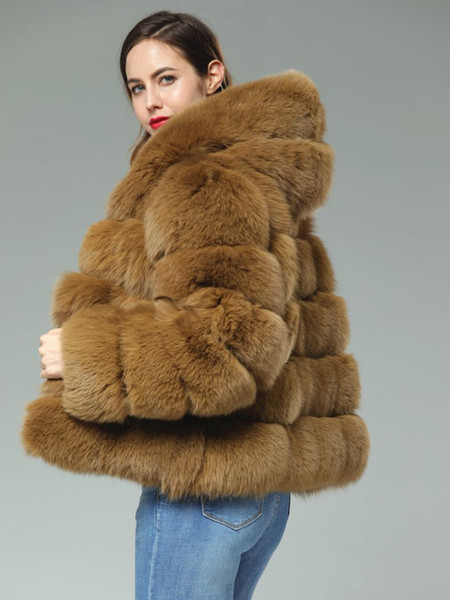 60 cm Long Camel Brown Custom Real Fox Fur Transverse stripes patchwork leather hooded coat outwear jacket winter Trench Hoodie