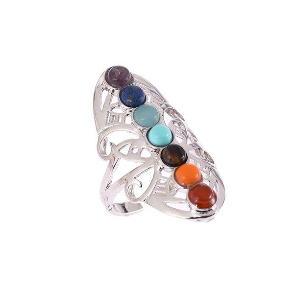 Anelli a forma di anello placcato argento antico Anelli a forma di anellino punk con anelli regolabili in pietra colorata