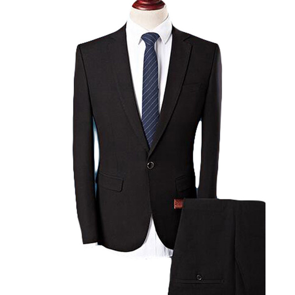 New Black Formal Business Men Suits Notched Lapel Three Piece Custom Made Groom Wedding Tuxedos (Jacket + Vest + Pants)