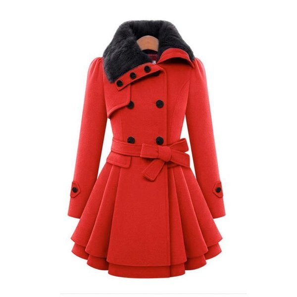 New European And American Women&s Slim-fit Long Jacket Hugely Double-breasted Padded Coat
