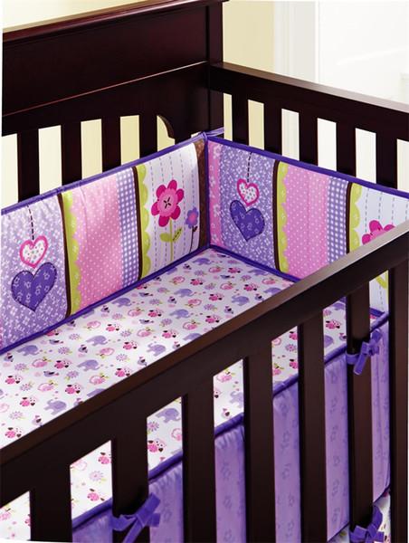 Детская кроватка постельного белья фиолетовый тон 3d вышивка пятисекционный костюм животных слон завод цветок младенцев постельное белье 247dhE1