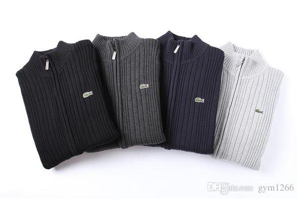 Nouveaux Cardigan Logo Crocodile Knitwear Men Zipper chandail chaud de haute qualité à capuche molletonné à capuche Automne Hiver Casual