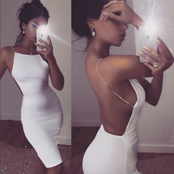 Hot sale sexy dress 2 color solid black white summer dresses slash neck sequin chain knee length bodycon backless dress free shipping