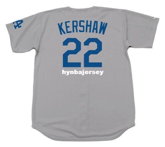 Дешевые Пользовательские CLAYTON KERSHAW Лос-Анджелес Сшитые Majestic Away Бейсбол Джерси Ретро Мужские Трикотажные Бег