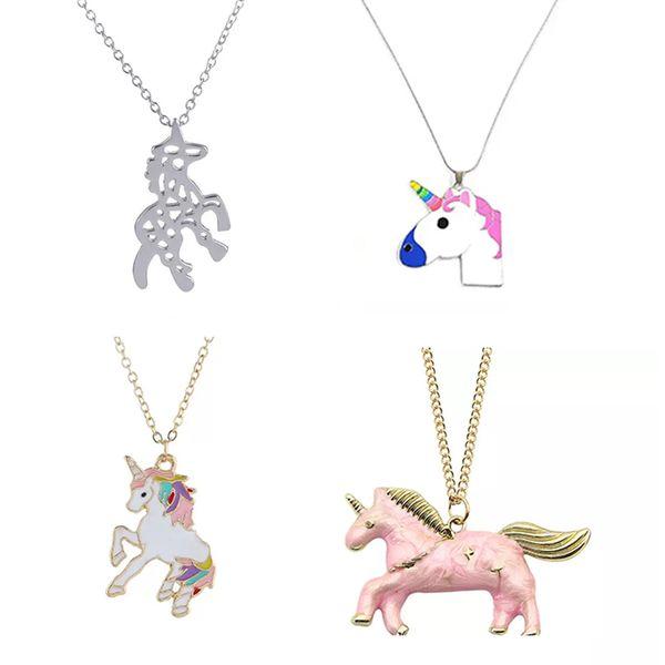 Ideas De Dibujos De Navidad.Compre Collar De Chicas Unicornio Collares Pendientes Dibujos Animados Accesorios De Joyeria Hourse Mujeres Collares De Animales Navidad Pequeno