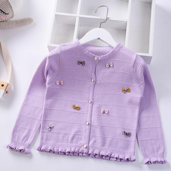 Compre 2019 Primavera Verano Niñas Suéter De Punto Cardigan Candy Bow Stripe Otoño Niños Algodón Bebé Princesa Abrigo Niños Ropa Chaqueta A &Price;