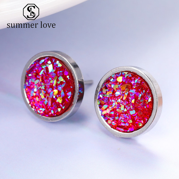New Arrival 12mm Handmade Round Crystal Druzy Stud Earring for Women Men Silver Color Titanium Steel Earring Fashion Jewelry Gift