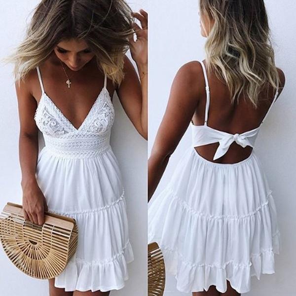 2019 Sexy Lace Beach Dress Ladies Bikini Swimsuit Cover Up Tunics Beach Bathing Suits Swimwear Cover Up Beachwear Saida De Praia Y19071801
