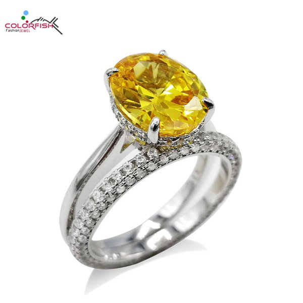 colorfish real 925 sterling silver double women ring set classic oval cut 4 carat yellow engagement ring set wedding jewelry, Slivery;golden