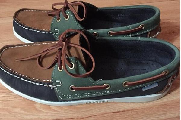 Designer-mode hommes daim haut sider mocassins bateau chaussures mens daim bleu bateau mocassins à la main chaussures en cuir casual