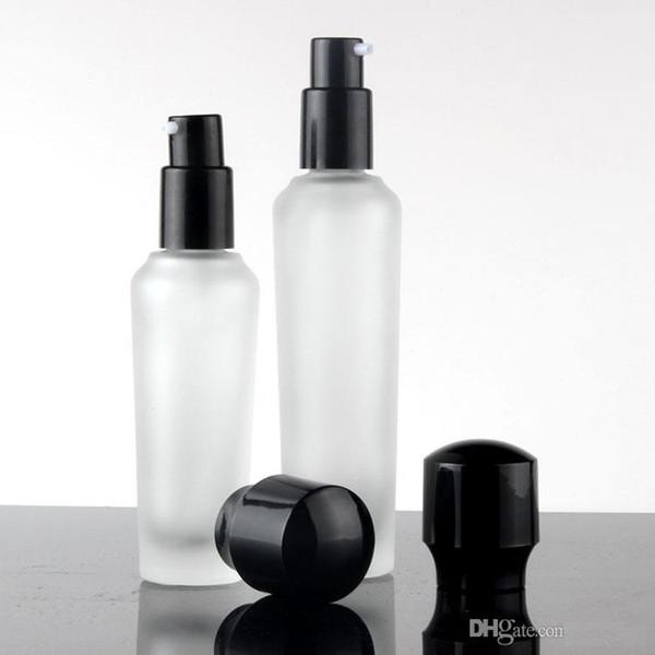 New Type 300pcs frosted glass 30/50/100ml serum/lotion/emulsion bottle dropper bottle 20/30/50g jar with black lids