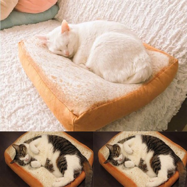 Toast Bread Cat Pillow Dog Pet Supplies Cute Real Life Toast Bread Slices Cushions Cat Special Bread Type Cushion Cartoon Around Large Outdoor Cushion