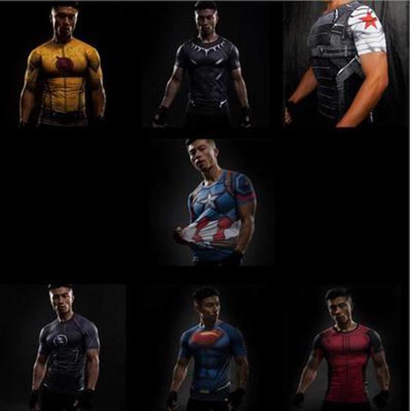 New Superhero Winter Soldier Bucky Black Panther Anime 3D T Shirt Fitness Men Cross fit T-Shirt Short Sleeve Compression Shirt
