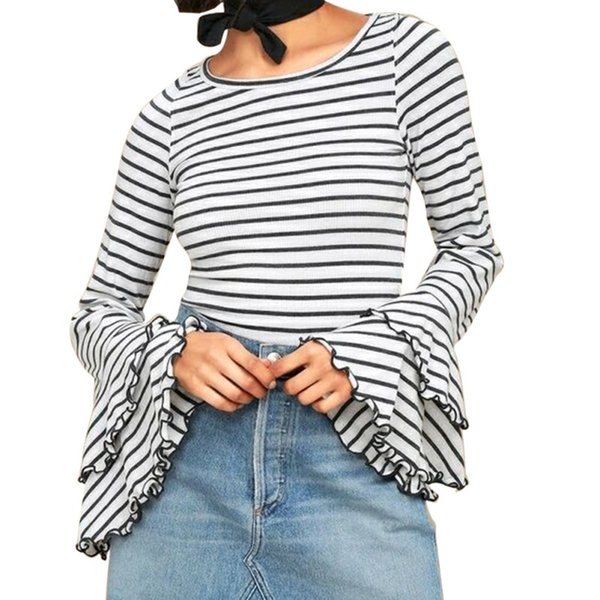 Camiseta de manga angosta para mujer Camiseta con cuello de pico O Camiseta de manga corta de verano Camiseta de manga larga Casual Tops de algodón Negro / Blanco Ropa Tees