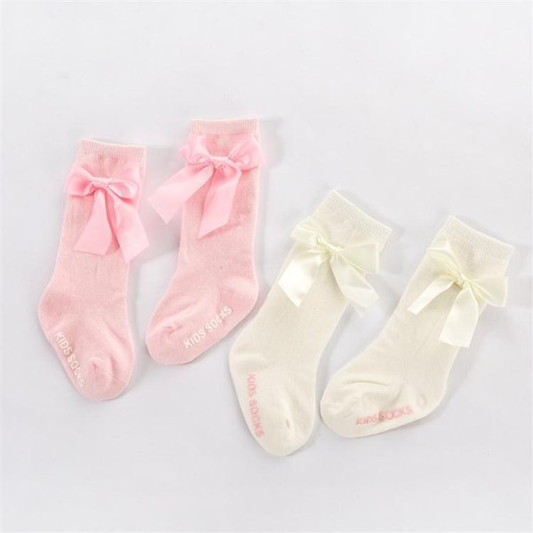 Kid Baby Girl Lace Socks with Bow Knot Frilly Princess Toddler Cotton Ankle Sock Solid Colors Fashion Gift White and Pink Color