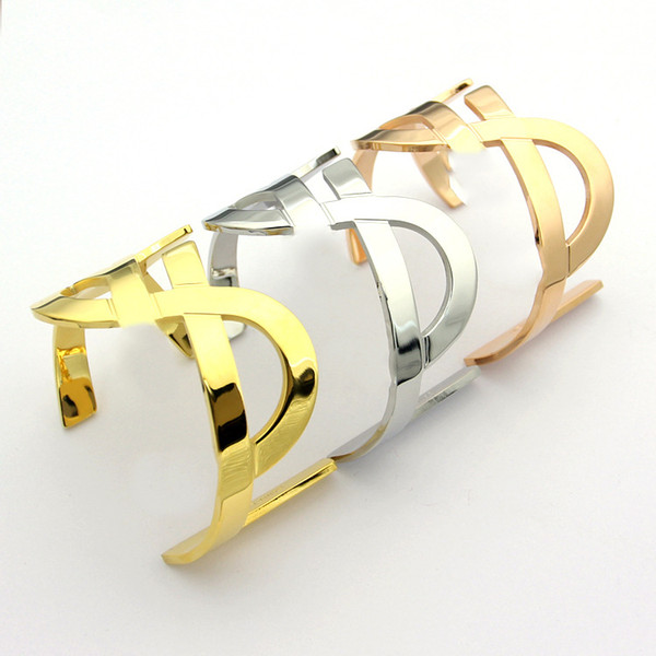 Titanium steel jewelry hollow Y letter wide open bracelet bangle bracelet gold 18k plated No fade no allergies free shipping