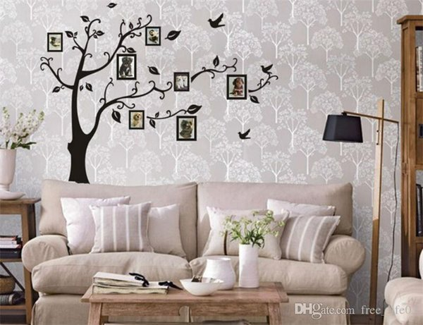Wholesale photo tree wall stickers living room home decorations pvc decal mural art diy office kids room wall art Variety Style
