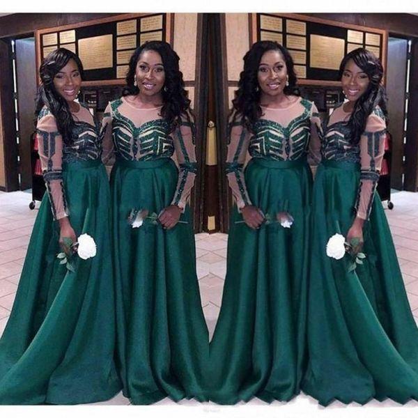 Vestidos largos de dama de honor africanos verde oscuro baratos 2019 con mangas Cuello de satén Con pliegues de país Damas de honor Vestido de fiesta por la noche