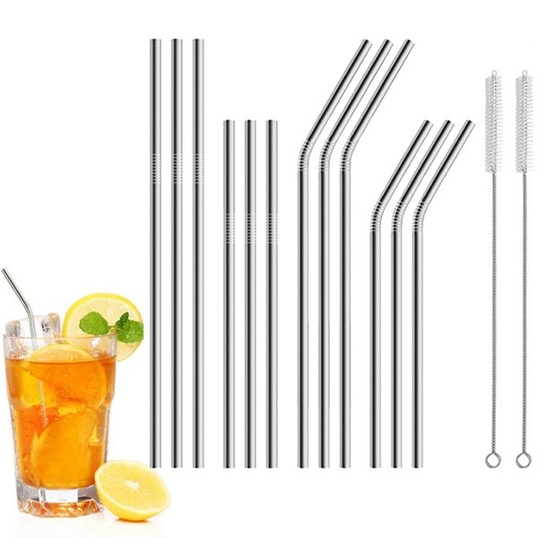 12PCS Long Stainless Steel Drinking Straws Fits 20 Oz & 30 Oz Cups Brushed Included bar accessories metal cocktail straws #007