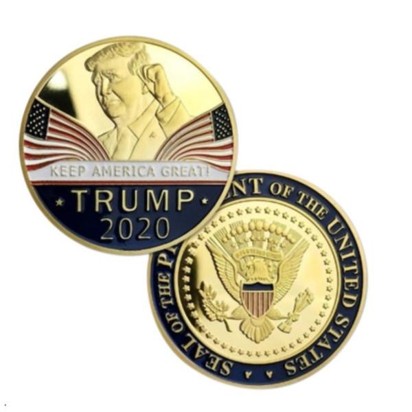 top popular 2020 Donald Trump Coin Souvenir Dollar Make America Great Again Metal Coins with Retail Box America General Election Accesseries E3409 2021