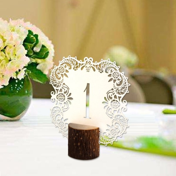 10Pcs/set Rustic Wedding Decoration Laser Cut Table Numbers Paper Table Place Cards Numbers 1 to 10 Wedding Centerpieces