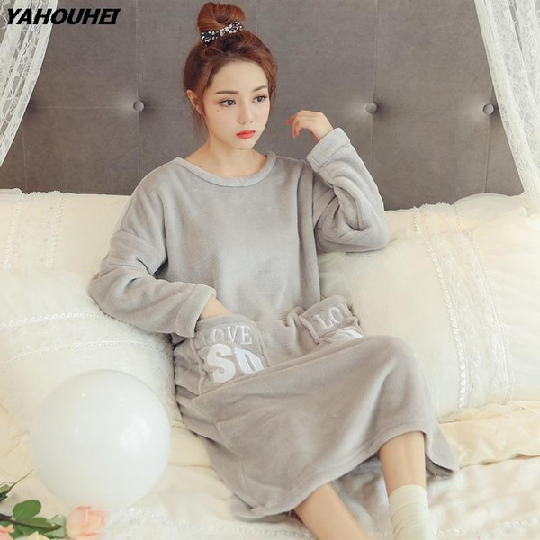 Thick Quente flanela Night Dress Nightgowns para as Mulheres 2019 Inverno manga comprida Coral Velvet Pijamas Femme Imprimir Nightdress Nighty
