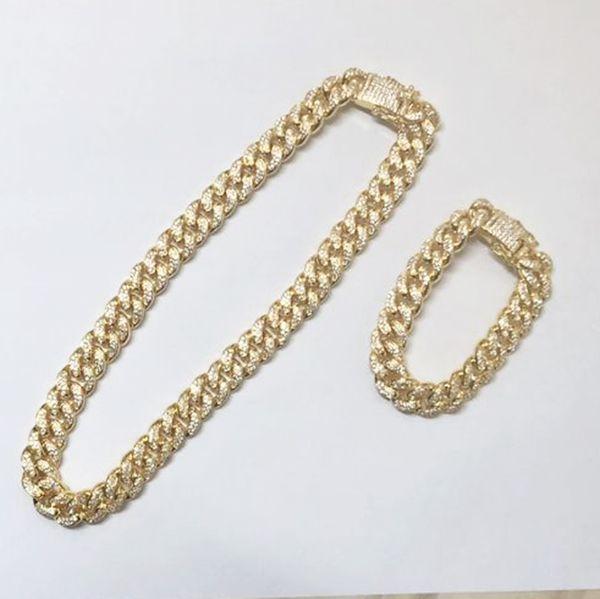 12mm Iced Out Zircon Cadena de Collar Cubano Hip hop Joyería Oro Plata Uno Conjunto CZ Corchete Collar Para Hombre Enlace 18-28 pulgadas