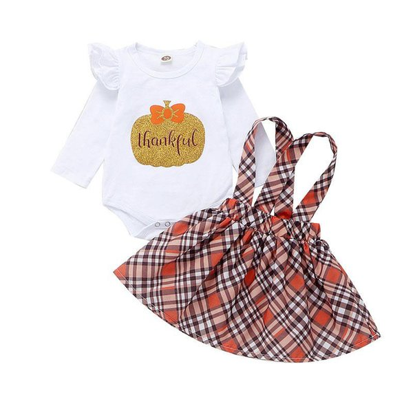 Baby Plaid Skirt Sets Pumpkin Rompers Halloween Small Fly Long Sleeve Letter Jumpsuits+Plaid Strap Dress 2pcs/set Thanksgiving Outfits