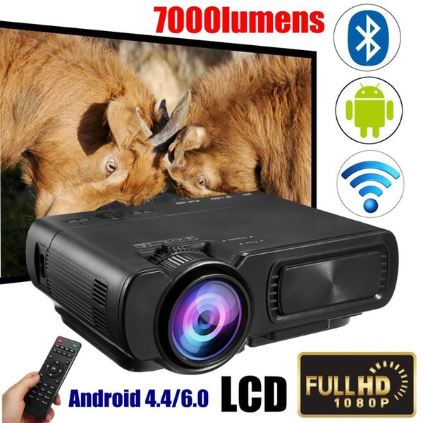 T5 LED proyector 3D Android 4.4 HD (1G + 8G) con USB WIFI Bluetooth Mini proyector LED HDMI mini proyector de Home Media Player