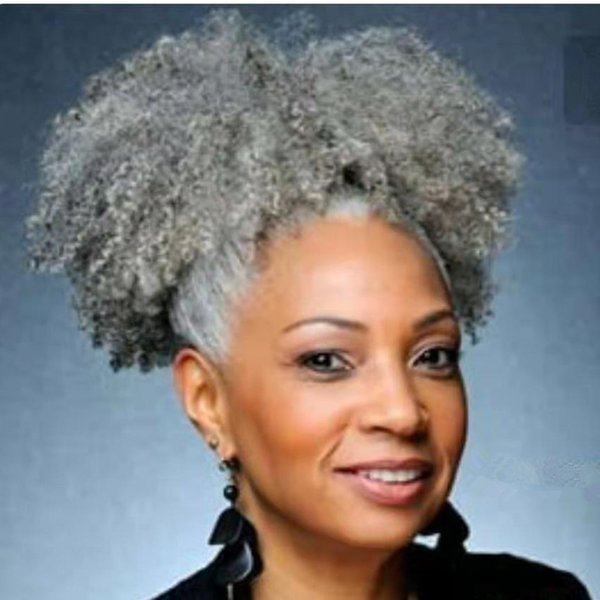Gray Afro Puff Drawstring Ponytail Kinky Curly Afro Clip on Updo Chignon Bun Hair Piece Extensions for African American Women Medium Size