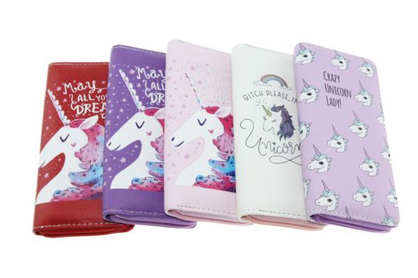 Großhandel 11 Design Einhorn Geldbörse Student Cartoon Geldbörse Pferd gestreift gedruckt Kinder Kinder Geschenke niedliche Brieftasche