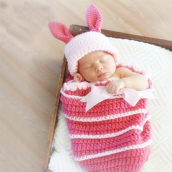 eb6657c468c Newborn props for photography cute bunny suits toddler beanie sleep bag baby  photo prop infant picture