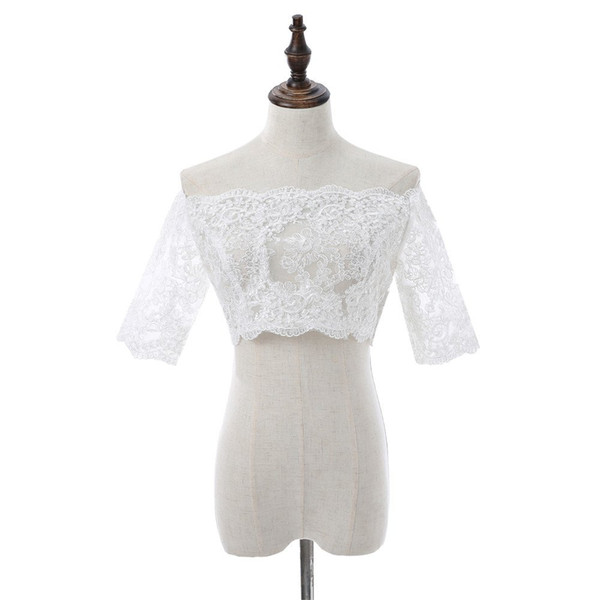 Elegant Boat Neck massagers lace appliques Wedding Bolero Women out Molded Vintage Wedding Accessories Bridal Shawl Coat