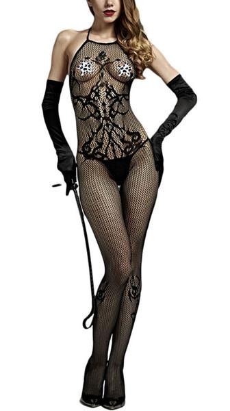Frauen Body Stocking Nahtlose undurchlässige Tätowierung Neckholder Open Crotch Rückenfreies Netzstrümpfe Einteilige Dessous Set Exotische Kleidung Unterwäsche