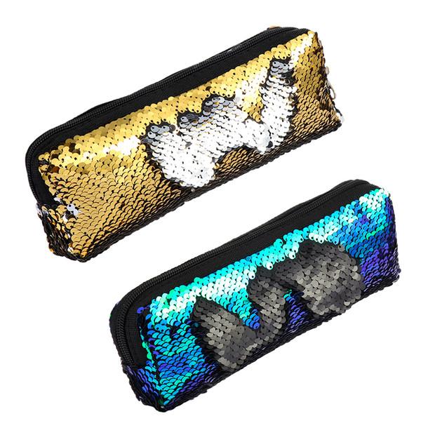 Sirena de lentejuelas bolsos reversible del color del doble de las mujeres del brillo bolsa de cosméticos lápiz caja de moneda del monedero de la bolsa de maquillaje