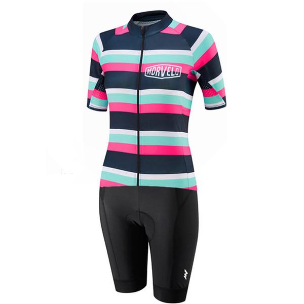 NEU Morvelo Brand Team Radtrikot Skinsuit Set Damen Kurzarm Pro Bike Wear Trikot Shorts Gel 9D Pad Radsportbekleidung Maillot Cicli