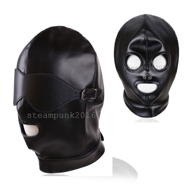 100/% GENIUNE LEATHER FACE MUZZLE MASK HOOD with REMOVABLE MOUTH GAG /& EYE PIECE