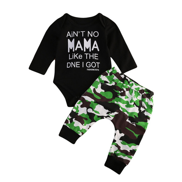 2018 newborn kids baby boys t-shirt romper long pants camo outfits set size 0-5t thumbnail