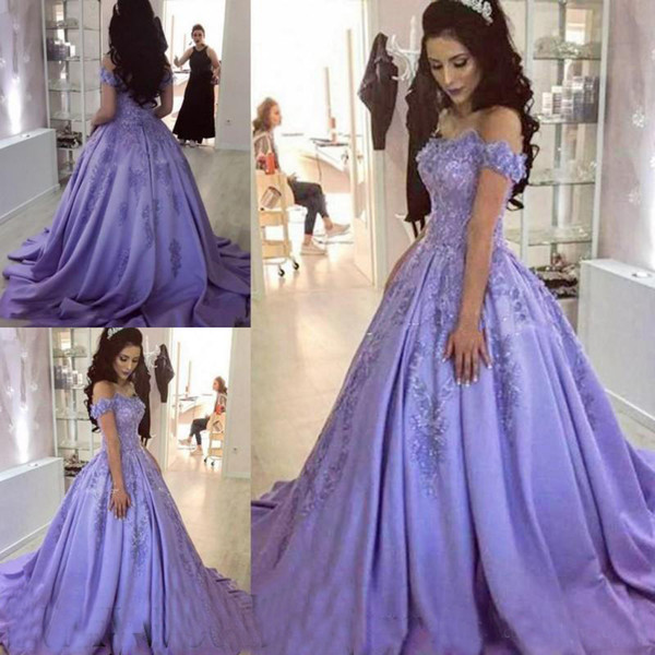 Dark Lavender Prom Ball Gowns Lace Appliques Off She Shoulder Sweet 16 Party Evening Gowns Sweep Train Women Formal Wear