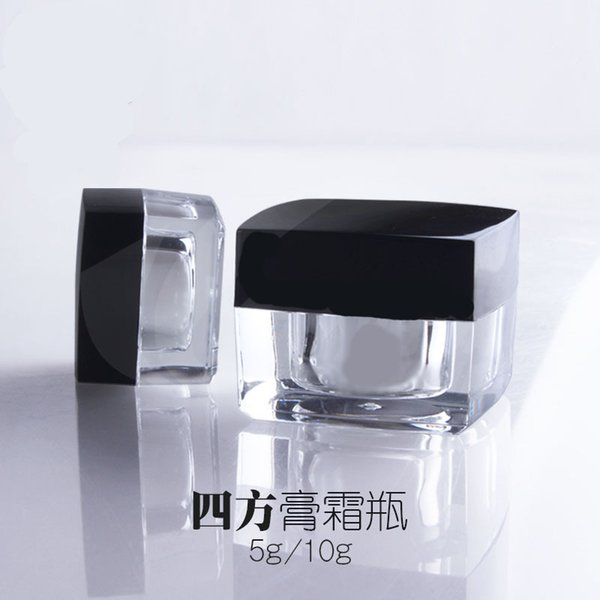 Free shipping 5g small square sample cream plastic bottle jar acrylic container black lid for cosmetic packaging 5ml 300pc/lot
